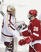 Brad Barone (BC - 29), Kevin Schulze (Wisconsin - 28) - The Boston College Eagles defeated the visiting University of Wisconsin Badgers 9-2 on Friday, October 18, 2013, at Kelley Rink in Conte Forum in Chestnut Hill, Massachusetts.