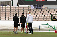 An early morning conversation with ground staff during India vs New Zealand, ICC World Test Championship Final Cricket at The Hampshire Bowl on 22nd June 2021
