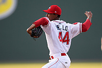 Pitcher Brayan Bello (44) of the Greenville Drive delivers a pitch in a game against the West Virginia Power on Friday, May 17, 2019, at Fluor Field at the West End in Greenville, South Carolina. West Virginia won, 10-4. (Tom Priddy/Four Seam Images)