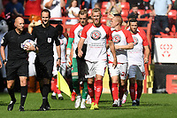Charlton Players supporting CACT'S KNIFE CRIME SUPPORT during Charlton Athletic vs Cheltenham Town, Sky Bet EFL League 1 Football at The Valley on 11th September 2021