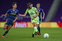 30th August 2020, San Sebastien, Spain;  Ingrid Syrstad Engen of VfL Wolfsburg shoots past Saki Kumagai of Lyon in action during the UEFA Womens Champions League football match Final between VfL Wolfsburg and Olympique Lyonnais.