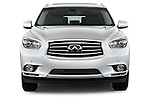 Car photography straight front view of a 2014 Infiniti QX60 Hybrid 5 Door SUV Front View