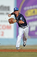 Asheville Tourists shortstop Zach Osborne #2 during a game against the Delmarva Shorebirds at McCormick Field on April 5, 2014 in Asheville, North Carolina. The Tourists defeated the Shorebirds 5-3. (Tony Farlow/Four Seam Images)