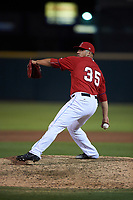 Inland Empire 66ers relief pitcher Carlos Salazar (35) delivers a pitch during a California League game against the Lancaster JetHawks at San Manuel Stadium on May 18, 2018 in San Bernardino, California. Lancaster defeated Inland Empire 5-3. (Zachary Lucy/Four Seam Images)