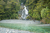 Fantail Falls in Haast Pass, Mt. Aspiring National Park, West Coast, South Westland, UNESCO World Heritage Area, New Zealand