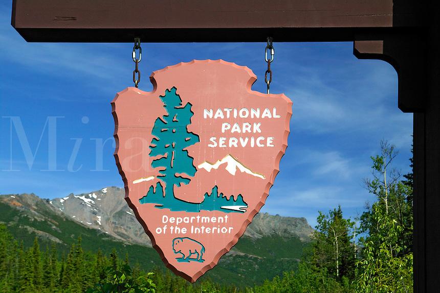 the sign to Denali National Park, Alaska.