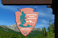 the sign to Denali National Park, Alaska.