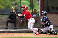 Philadelphia Phillies Oscar Gonzalez (7) bats during an Extended Spring Training game against the New York Yankees on June 22, 2021 at the Carpenter Complex in Clearwater, Florida. (Mike Janes/Four Seam Images)