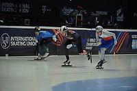 SPEEDSKATING: DORDRECHT: 05-03-2021, ISU World Short Track Speedskating Championships, Heats 500m Men, Martin Kolenc (CRO), Radek Fajkus (CZE), ©photo Martin de Jong
