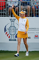 5th September 2021; Toledo, Ohio, USA;  Madelene Sagstrom of Team Europe walks to the first tee during the morning Four-Ball competition during the Solheim Cup on September 5th