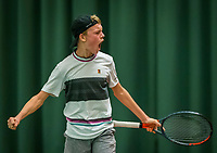 Wateringen, The Netherlands, December 8,  2019, De Rhijenhof , NOJK juniors 14 and18 years, Finals boys 14 years: Abel Forger celebrates matchpoint<br /> Photo: www.tennisimages.com/Henk Koster