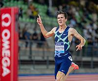 10th June 2021; Stadio Luigi Ridolfi, Florence, Tuscany, Italy; Muller Diamond League Grand Prix Athletics, Florence andRome; Jakob Ingebrigtsen finish line pose as he wins the mens 5000m