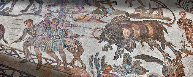 captured wild animal from the Ambulatory of The Great Hunt, room no 28,  at the Villa Romana del Casale, 4th century AD. Sicily, Italy. A UNESCO World Heritage Site.