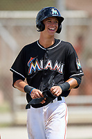 GCL Marlins center fielder Connor Scott (24) during a game against the GCL Cardinals on August 4, 2018 at Roger Dean Chevrolet Stadium in Jupiter, Florida.  GCL Marlins defeated GCL Cardinals 6-3.  (Mike Janes/Four Seam Images)