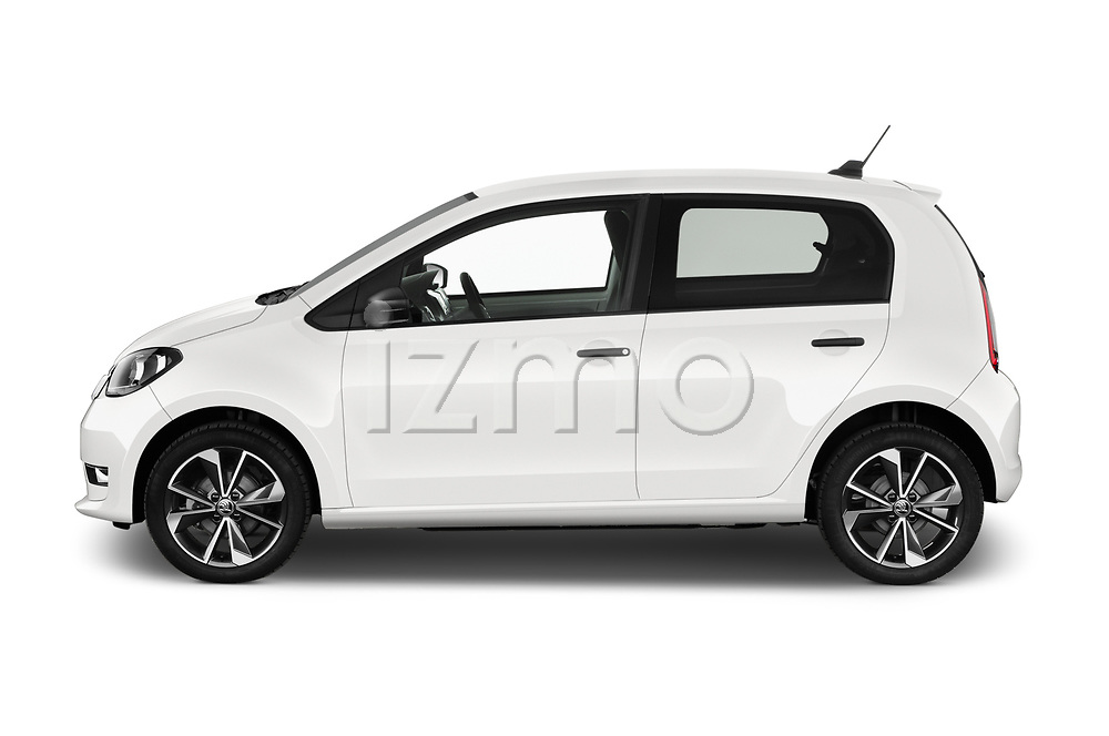 Car driver side profile view of a 2020 Skoda Citigo e iV Ambition 5 Door Hatchback