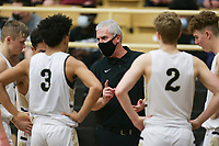 Bentonville head coach Dick Rippee talks to his players, Saturday, November 14, 2020 during a basketball game at Bentonville High School in Bentonville. Check out nwaonline.com/201115Daily/ for today's photo gallery. <br /> (NWA Democrat-Gazette/Charlie Kaijo)