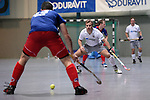 Mannheim, Germany, January 10: During the 1. Bundesliga Herren Hallensaison 2014/15 Sued  hockey match between Mannheimer HC (blue) and Muenchner SC (white) on January 10, 2015 at Irma-Roechling-Halle in Mannheim, Germany. Final score 8-8 (3-5). (Photo by Dirk Markgraf / www.265-images.com) *** Local caption *** Florian Michel #20 of Muenchner SC