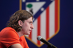 Atletico de Madrid's new Brazilian football player Filipe Luis Kasmirski attends a press conference during his presentation at Vicente Calderon stadium in Madrid, Spain. July 29, 2015. (ALTERPHOTOS/Victor Blanco)