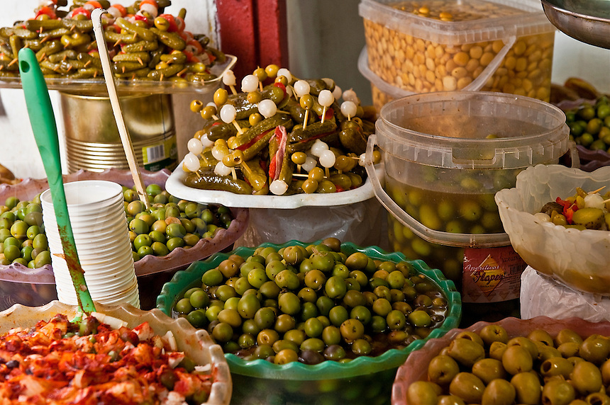 Olives for sale in a market, Madrid, Spain