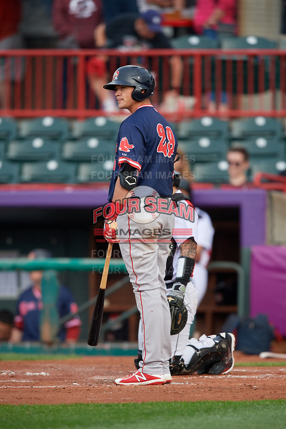 Portland Sea Dogs Bobby Dalbec (29) at bat during an Eastern League game against the Erie SeaWolves on June 17, 2019 at UPMC Park in Erie, Pennsylvania.  Portland defeated Erie 6-3.  (Mike Janes/Four Seam Images)