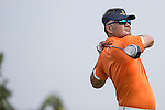 Cao Weiyu tees off during the World Celebrity Pro-Am 2016 Mission Hills China Golf Tournament on 22 October 2016, in Haikou, China. Photo by Victor Fraile / Power Sport Images