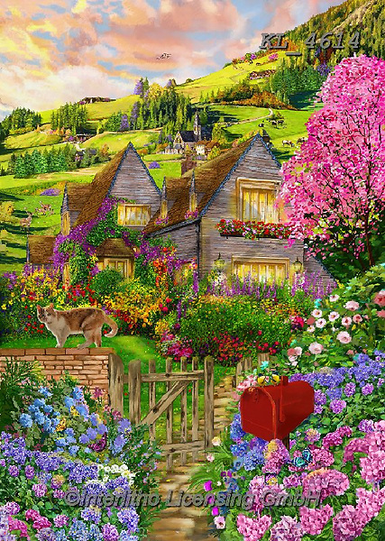Interlitho-Franco, LANDSCAPES, LANDSCHAFTEN, PAISAJES, paintings+++++,landscape,KL4614,#l#, EVERYDAY ,puzzle,puzzles ,countryside,romantic,county house