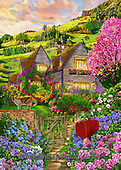 Interlitho-Franco, LANDSCAPES, LANDSCHAFTEN, PAISAJES, paintings+++++,landscape,KL4614,#l#, EVERYDAY ,puzzle,puzzles ,countryside,romantic,county house