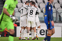 Cristiano Ronaldo of Juventus FC celebrates with team mates after scoring the goal of 1-0 during the Serie A football match between Juventus FC and Udinese Calcio at Juventus stadium in Torino  (Italy), January, 3rd 2021.  Photo Federico Tardito / Insidefoto