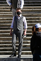 Actor Tom Cruise on the Spanish steps on the set of the film Mission Impossible 7 at Spagna square, just under the Spanish steps.<br /> Rome (Italy), November 22nd 2020<br /> Photo Samantha Zucchi Insidefoto