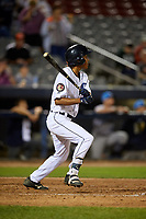 Connecticut Tigers shortstop Jose King (48) follows through on a swing during a game against the Hudson Valley Renegades on August 20, 2018 at Dodd Stadium in Norwich, Connecticut.  Hudson Valley defeated Connecticut 3-1.  (Mike Janes/Four Seam Images)