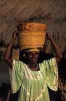 Afrique/Afrique de l'Ouest/Sénégal/Parc National de Basse-Casamance/Kabrousse : Femme rentrant des champs