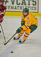 19 February 2016: University of Vermont Catamount Forward Craig Puffer, a Freshman from New Canaan, CT, in first period action against the Boston College Eagles at Gutterson Fieldhouse in Burlington, Vermont. The Eagles defeated the Catamounts 3-1 in the first game of their weekend series. Mandatory Credit: Ed Wolfstein Photo *** RAW (NEF) Image File Available ***