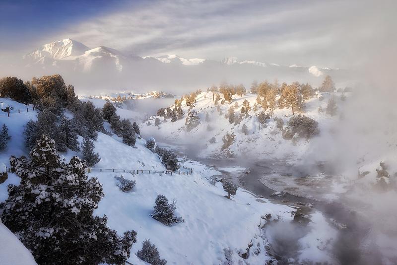 Steam rising from hot springs. Hot Creek Geothermal Site, CA