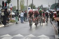 Jürgen Roelandts (BEL/Lotto-Belisol) & Tony Gallopin (FRA/Lotto-Belisol) escort Jurgen Van den Broeck (BEL/Lotto-Belisol) back into a descent position so he stays in the battle for a good overall<br /> <br /> 2014 Tour de France<br /> stage 5: Ypres/Ieper (BEL) - Arenberg Porte du Hainaut (155km)