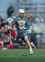 16 April 2016: University of Vermont Catamount Attacker Dawes Milchling, a Freshman from Cockeysville, MD, in action against the University of Maryland, Baltimore County Retrievers at Virtue Field in Burlington, Vermont. The Catamounts defeated the Retrievers 14-10 in NCAA Division I play. Mandatory Credit: Ed Wolfstein Photo *** RAW (NEF) Image File Available ***
