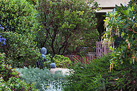 Buddha statue in California native plant garden; Vincent Garden