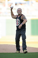 Paul Teutul Sr., founder of Orange County Choppers, throws out the ceremonial first pitch prior to the International League game between the Rochester Red Wings and the Charlotte Knights at BB&T BallPark on August 8, 2015 in Charlotte, North Carolina.  (Brian Westerholt/Four Seam Images)