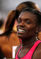Golden Gala di atletica leggera allo stadio Olimpico di Roma, 6 giugno 2013.<br /> Dawn Harper-Nelson, of the United States, reacts after winning the 100 meters hurdles race at the Golden Gala IAAF athletics meeting at Rome's Olympic stadium, 6 June 2013.<br /> UPDATE IMAGES PRESS/Isabella Bonotto