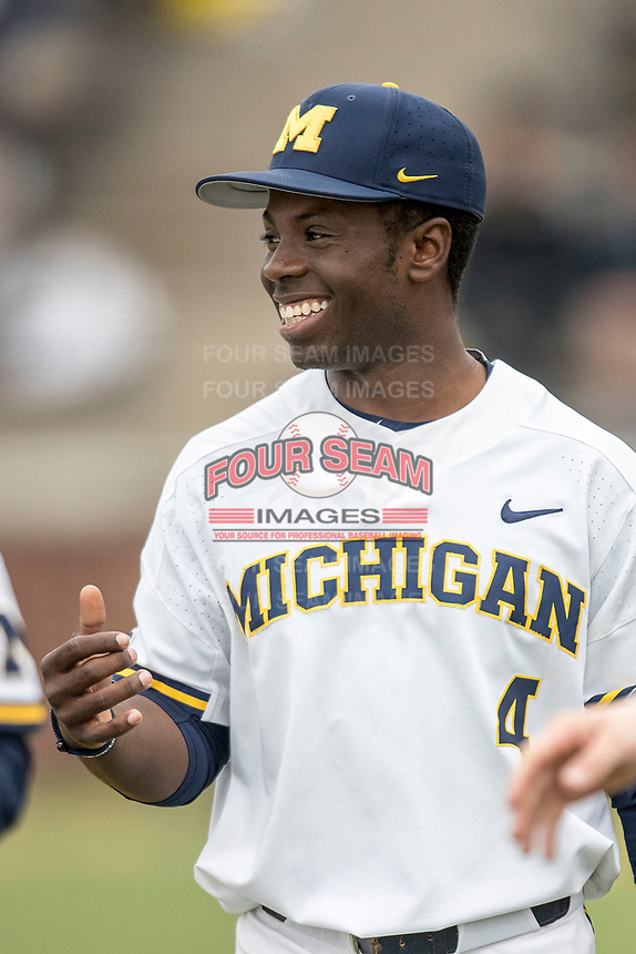 Michigan Wolverines second baseman Ako Thomas (4) smiles prior to the Big Ten baseball game against the Maryland Terrapins on April 13, 2018 at Ray Fisher Stadium in Ann Arbor, Michigan. Michigan defeated Maryland 10-4. (Andrew Woolley/Four Seam Images)