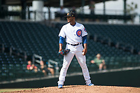 Mesa Solar Sox relief pitcher Manuel Rondon (51), of the Chicago Cubs organization, looks in for the sign during an Arizona Fall League game against the Peoria Javelinas at Sloan Park on October 11, 2018 in Mesa, Arizona. Mesa defeated Peoria 10-9. (Zachary Lucy/Four Seam Images)
