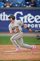 Frederick Keys third baseman Austin Hays (18) at bat during the second game of a doubleheader against the Wilmington Blue Rocks on May 14, 2017 at Daniel S. Frawley Stadium in Wilmington, Delaware.  Wilmington defeated Frederick 3-1.  (Mike Janes/Four Seam Images)