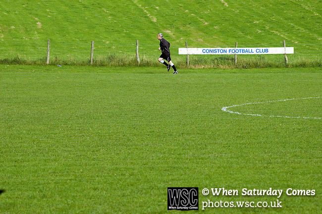 Coniston v Penrith, 20/09/2008. Westmorland League. The referee warming up. Photo by Paul Thompson. Final score 0-0.