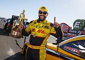 funny car, Camry, J.R. Todd, DHL, trophy, celebration, victory