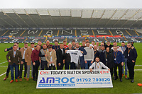 Leon Britton with match sponsors during the Sky Bet Championship match between Swansea City and Sheffield Wednesday at the Liberty Stadium , Swansea, Wales, UK. Saturday 15 December 2018