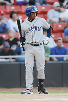 Asheville Tourists Russell Wilson #3 enters the batters box during a game vs. the Hickory Crawdads at L.P. Franz Stadium in Hickory,  North Carolina;  April 7, 2011.  Hickory defeated Asheville 4-2.  Photo By Tony Farlow/Four Seam Images