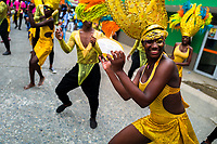 Afro-Colombian dancers perform during the San Pacho festival in Quibdó, Colombia, 3 October 2019. Every year at the turn of September and October, the capital of the Pacific region of Chocó holds the celebrations in honor of Saint Francis of Assisi (locally named as San Pacho), recognized as Intangible Cultural Heritage by UNESCO. Each day carnival groups, wearing bright colorful costumes and representing each neighborhood, dance throughout the city, supported by brass bands playing live music. The festival culminates in a traditional boat ride on the Atrato River, followed by massive religious processions, which accent the pillars of Afro-Colombian's identity – the Catholic devotion grown from African roots.