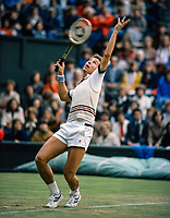 July 1, 1980, London, England, AELTC, All England Club, Wimbledon, Dick Stockton(USA) serves<br /> Photo: Tennisimages/Henk Koster