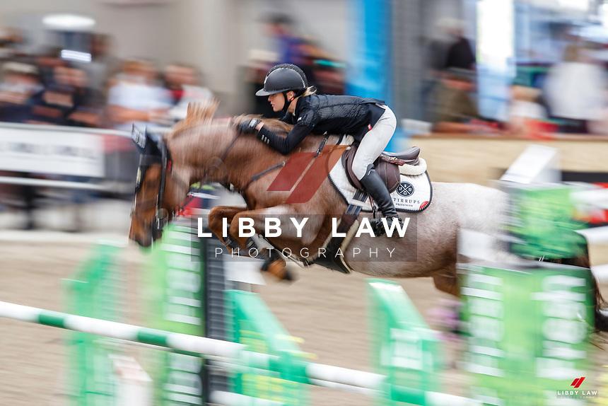 NZL-Briar Burnett-Grant rides Fiber Fresh Veroana. Final-3rd. Class 22: Fiber Fresh Horse 1.40m Ranking Class. 2021 NZL-Easter Jumping Festival presented by McIntosh Global Equestrian and Equestrian Entries. NEC Taupo. Saturday 3 April. Copyright Photo: Libby Law Photography