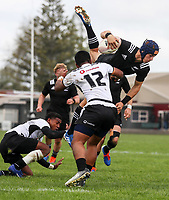 Ruben Love flies high during the rugby union match between New Zealand Schools and Fiji Schools at Hamilton Boys' High School in Hamilton, New Zealand on Monday, 30 September 2019. Photo: Simon Watts / lintottphoto.co.nz