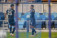SAN JOSE, CA - OCTOBER 03: Marcos Lopez #27 of the San Jose Earthquakes celebrates scoring with Andy Rios #25 during a game between Los Angeles Galaxy and San Jose Earthquakes at Earthquakes Stadium on October 03, 2020 in San Jose, California.